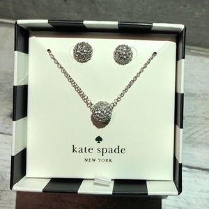 Kate Spade silver pendant Necklace & earrings set
